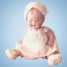"""4 1/4"""" 2-Faced German All Bisque Baby"""