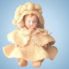 """4 1/2"""" Lovely Early All Bisque Kestner Baby ~ Fabulous Outfit!"""