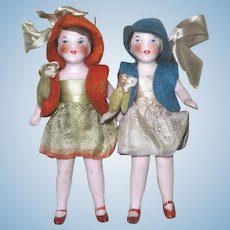 "Lovely 3 1/4"" Pair Dollhouse Dolls"