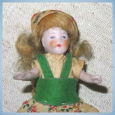 """3 1/2"""" Hertwig All Bisque Dollhouse Flapper"""