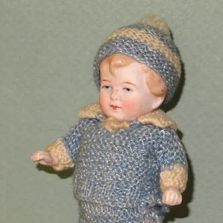 """5 1/2"""" Limbach Toddler in Blue Knitted Suit~ Awfully Cute!"""