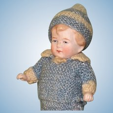 "5 1/2"" Limbach Toddler in Blue Knitted Suit~ Awfully Cute!"