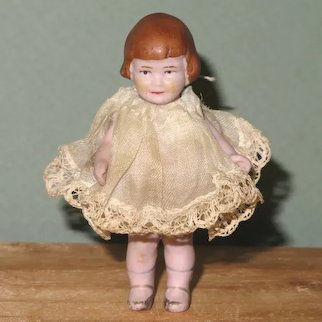 """3"""" Amberg/Hertwig BABY PEGGY All Bisque Doll All Original!"""