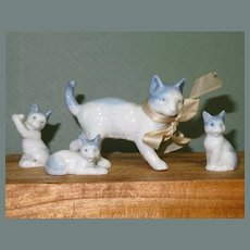 "Porcelain Cat family of 4 - 1 1/4"" - 3"" Dollhouse size"