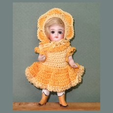 """5"""" Kestner All Bisque 184/4 with Yellow Boots & Sleep Eyes"""