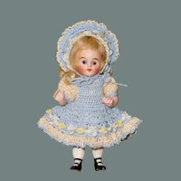 "4 1/8"" Kling All Bisque Doll ~ Bootines & Cobalt Glass Eyes"