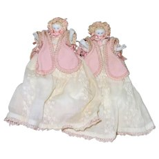 "4 1/2"" Pair Jointed Parian Dolls Dressed as Infants"