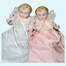 "3 1/4"" Pair Early Kestner All Bisque Babies"