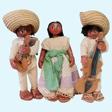 Group of 3 Mexican Cloth Dolls ~ 9-10""