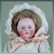 "4 1/4"" Early Round Face Ball Head All Bisque Doll w Yellow Boots"