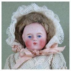 """4 1/4"""" Early Round Face Ball Head All Bisque Doll w Yellow Boots"""