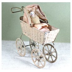 """Painted Tin Carriage with Baby ~ 5 1/2"""" Total Length"""