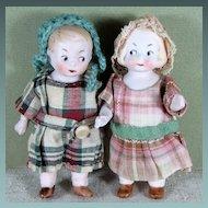 """3 1/4"""" Pair HERTWIG Googly Eyed Children with Wardrobe"""