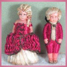 """Incredible 2"""" Pair Celluloid George & Martha Washington Silk Thread Clothes"""