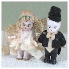 "2 1/4"" Hertwig Bride, Groom and Preacher ~ 3 Antique German All Bisque Dolls"