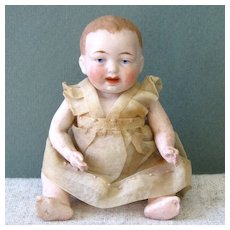 """4 3/4"""" All Bisque Baby in Original Organdy Outfit"""