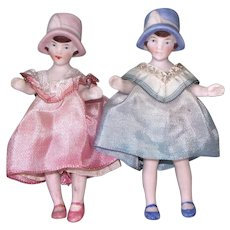 Pair of Charming Hertwig Girls with Molded Cloches
