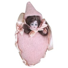 """6"""" - 9"""" Hanging Doll Pincushion Hertel Schwab """"Prize Baby"""" Sewing or baby Accessory"""