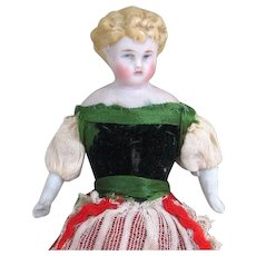 """5 1/8"""" Dollhouse Doll with Blue Boots ~ Antique and Pretty"""