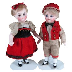 """Fabulous 4"""" Pair Kling """"31 - 9"""" All Bisque Dolls with Factory Original Costumes"""