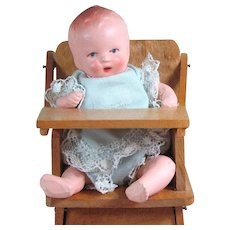 """4"""" Hertwig All Bisque Baby Doll in Darling High Chair"""