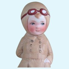 """4 1/4"""" All Bisque Doll WW I Aviator or Aviatrix Character - Probably Amelia Earhart"""