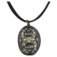 Antique God Is Love Pendant | Gutta Percha and Mother of Pearl Pendant | MOP Pendant | Religious Jewelry