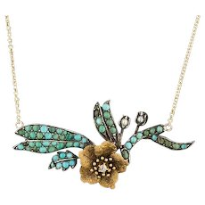 Turquoise & Diamond Flower Necklace | 14k Gold and Silver Necklace | Pin Conversion Necklace | Turquoise Necklace