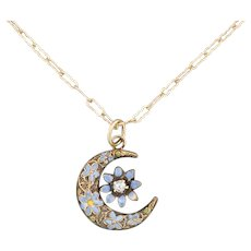 14k Gold Forget-Me-Not Crescent Moon Necklace | Pin Conversion | 14k Gold Pendant with 10k Gold Chain