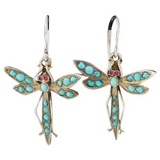 Turquoise Dragonfly Earrings |  Dragonfly Earrings | Conversion Earrings | Dangles with 14k Gold Ear Wires