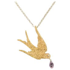 14k Gold Nugget Swallow Bird Necklace | Pin Conversion Necklace | 14k Swallow Pendant with 14k Chain | Pink Sapphire Necklace