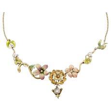 10k & 14k Gold Enamel Flower Necklace | Enamel Pin Conversion Necklace | 10k and 14k Gold Statement Necklace