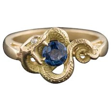 14k Gold Snake Ring | Blue Spinel and Diamond Snake Ring | Stick Pin Conversion Ring | 14k Gold Ring
