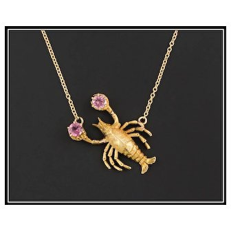 14k Gold Lobster Necklace | Pin Conversion Necklace | Lobster Necklace with Garnets | Beach Jewelry | Nautical Jewelry