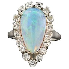 Vintage Opal & Diamond Ring | Opal Statement Ring | EGL Certified Opal Ring | Mid-Century Ring | Statement Ring | 14k White Gold Ring