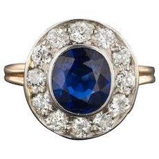 Vintage Natural Sapphire & Diamond Ring   14k Gold Sapphire Ring   Sapphire Halo Ring   Sapphire Engagement Ring