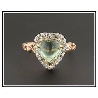 14k Gold Tourmaline Heart Ring | Pin Conversion Ring | 14k Gold Heart Ring | Love Token Ring