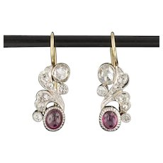 Ruby and Rose Cut Diamond Earrings | Ruby & Diamond Conversion Earrings | Art Deco Platinum topped 14k Gold Dangles | Natural Ruby Earrings