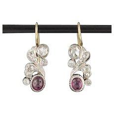 Ruby and Rose Cut Diamond Earrings | Ruby & Diamond Conversion Earrings | Art Deco Platinum topped 14k Gold Dangles | Natural Ruby Earrings