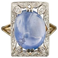 Antique Natural Star Sapphire & Diamond Ring | Platinum Topped 18k Yellow Gold Ring | Edwardian Ring | EGL Certification and Appraisal