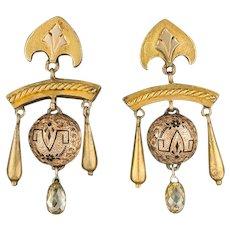 Antique Diamond Earrings | 14k Gold Victorian Earrings | Antique Earrings | Gold Earrings | Yellow Diamond Earrings