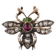 14k Gold Bee Ring | Pin Conversion Ring | Diamond Bug Ring | Diamond & Ruby Insect Ring | 14k Gold Bug Ring
