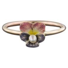 10k Gold Pansy Ring | Enamel Pansy Ring | Pin Conversion Ring | 10k Gold Flower Ring | Flower Ring