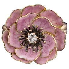 14k Gold & Diamond Flower Ring | Pin Conversion Ring | Pink Enamel Flower Ring | Flower Ring | 14k Gold Ring