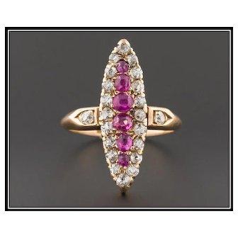 Antique Ruby & Diamond Ring | Antique 14k Gold Navette Ring | Antique Ring | Antique Victorian Ring | Ruby Ring