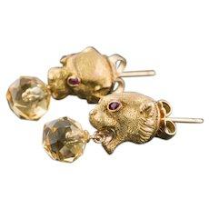 14k Gold Jaguar Earrings   Conversion Earrings   14k Gold & Citrine Wild Cat Earrings   Citrine Earrings   14k Gold Earrings