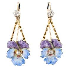 14k Gold & Enamel Pansy Earrings   Conversion Earrings   14k Gold Flower Earrings   Diamond Flower Earrings   14k Pansy Earrings