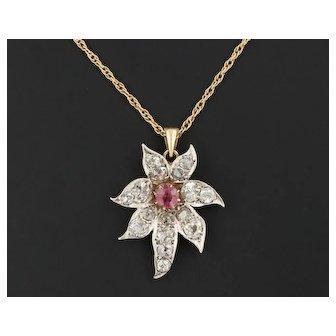 Pink Tourmaline & Diamond Flower Pendant | Pin Conversion Pendant | Silver topped 10k Gold Pendant with 14k Gold Chain