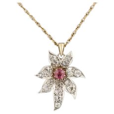 Pink Tourmaline & Diamond Flower Pendant | Pin Conversion Pendant | Silver topped 10k Gold Pendant with 14k Gold Chain