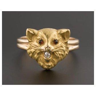 14k Gold Cat Ring | Conversion Ring| 14k Gold Cat Ring | Diamond Cat Ring | 14k Gold Ring
